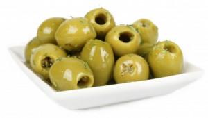 Olive verdi con aglio e prezzemolo